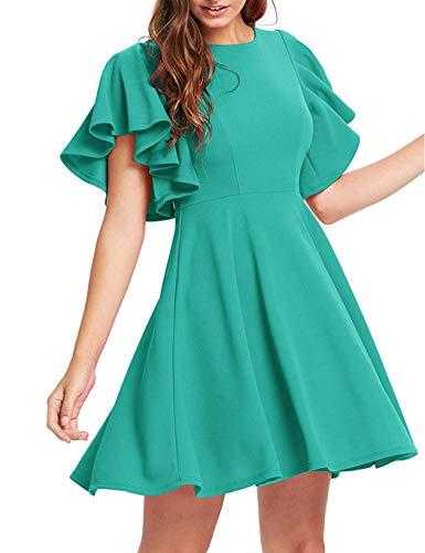 Teaio Damen Sommerkleid mit Ärmel Volantkleid Vintage Kleid A-Linie Sommer Midi O-Neck Volant Elegant Kleid Sommer Einfarbig Damen Flutter Sleeve Dress