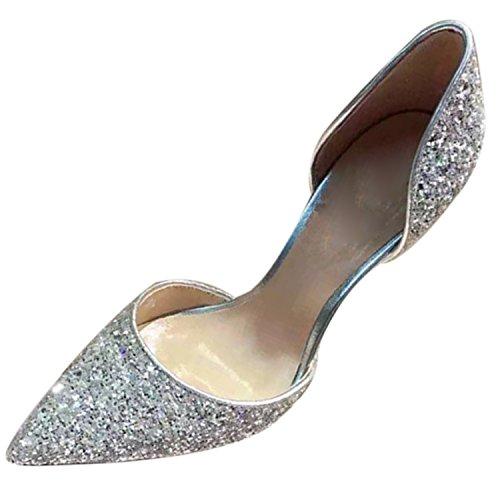 Azbro Women's Sequins Slip-on High Heels Pumps Silver