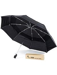 Extra-großer kompakter Regenschirm von TeamSoda KeepDry: großes Schirmdach, sturmfest und geringes Gewicht
