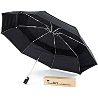Large Canopy Teflon-Coated Folding Umbrella - Sturdy Construction, Auto Open-Close with Extra Large Windproof Double Vented Canopy, in Stylish Gift Box, Ideal for Men and Ladies
