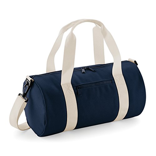 BagBase Borsone in Tela Mini barrel bag 40x20x20cm 12L Classic Red Off White French Navy/ Off White