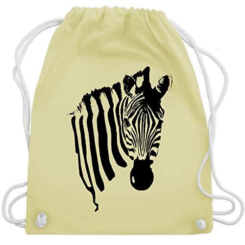 Shirtracer Wildnis - Zebra - Unisize - Pastell Gelb - WM110 - Turnbeutel und Stoffbeutel aus Bio-Baumwolle