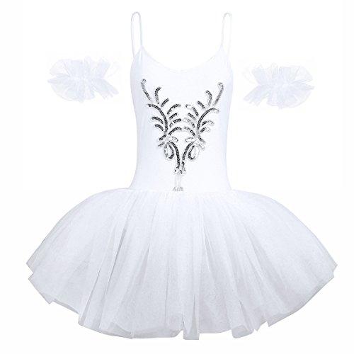 iEFiEL Damen Ballettkleid Ballettanzug Ballett Trikot Tanzkleid Weiß Tanz-Kostüm mit Tüll Rock Gr. XS S M L XL Weiß Medium