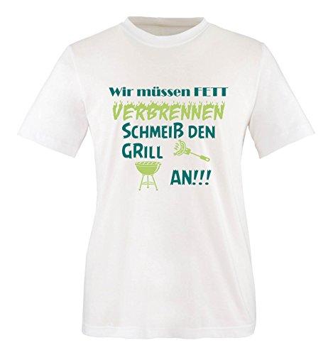 Comedy Shirts - Wir müssen Fett verbrennen schmeiß den Grill an!!! - Herren T-Shirt - Weiss / Türkis-Hellgrün Gr. XL