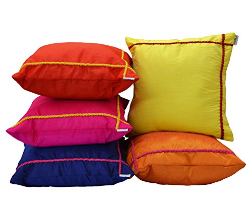 meSleep Multi Colored Dori Cushion Cover (14x14 Inches   35x35 CM)s-5pc
