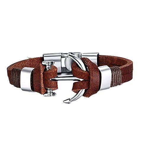 GYJUN Homme Bracelets en cuir Amitié Mode de Cercle Forme Ronde Ancre Bijoux , brown