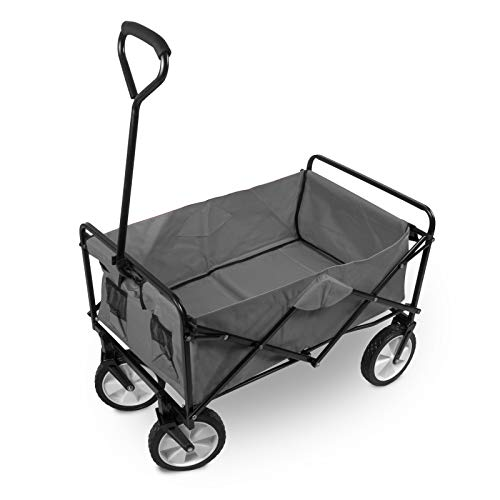 Julido Faltbarer Bollerwagen Transportwagen Handwagen Gartenwagen Gartenkarre Zusammenklappbar Farbe: Grau