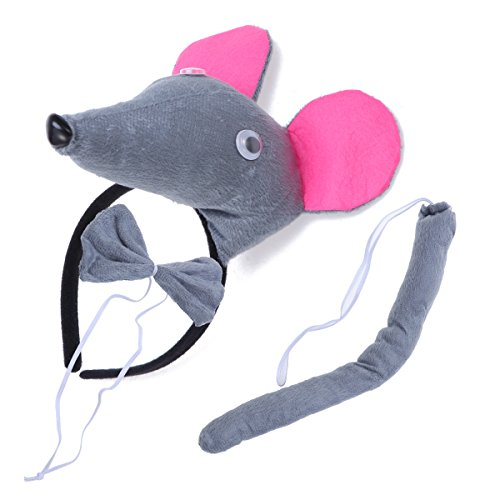 tüme Maus Kopf Stirnband mit Ohren Tier Schwanz Fliege für Cosplay Halloween Party Favors 3 Stück ()