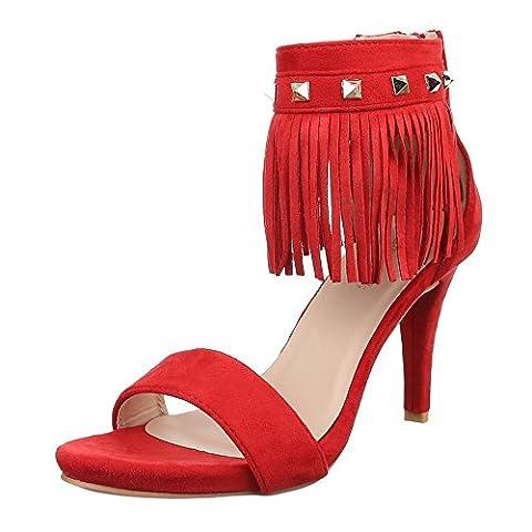 Damen Schuhe, J-2, SANDALETTEN, HIGH HEELS MIT FRANSEN, Synthetik in hochwertiger Wildlederoptik , Rot, Gr
