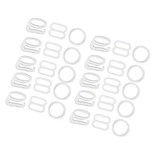 Sharplace 10 Sätze BH-Träger Zubehör Bikiniverschluss BH Clips Verschluss Einstellbar Nähen BH Ringe Schnallen - Weiß, 1 cm -