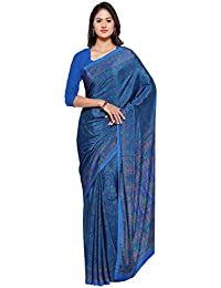 Ligalz Women's Crepe Saree With Blouse Piece (L0111532, Blue, Free Size)