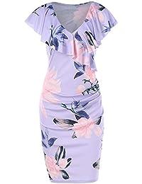YTJH Vestito Floreale da Donna Elegante Vestiti Attillato da Cerimonia Sexy  Abito Scollato Abiti da Sera 39cde4d0f26