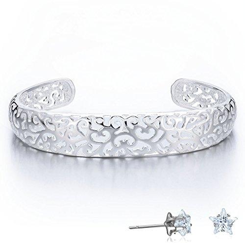 viki-lynn-silver-plated-hollowed-floral-bracelet-unique-design-for-elegant-ladies