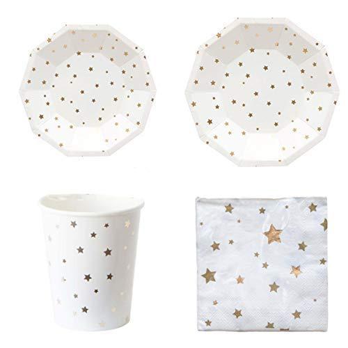Polka Dot Sky Gold und Weiß Folie Sterne Geburtstagsfeier Geschirr Packung Teller Becher Servietten Leuchtende Farben 8 Packung (32pcs)