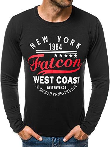 OZONEE Herren Longsleeve Langarmshirt Sweatshirt Motiv Modern Täglichen Sport Aufdruck Print 777/083L SCHWARZ 2XL