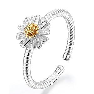 Impression 1PCS Ringe Ring Blumen-Diamant-Ring Mode-Ring Schmuck-Girl Zubehör Valentinstag Geschenke aus Glas Hochzeit Ring offen
