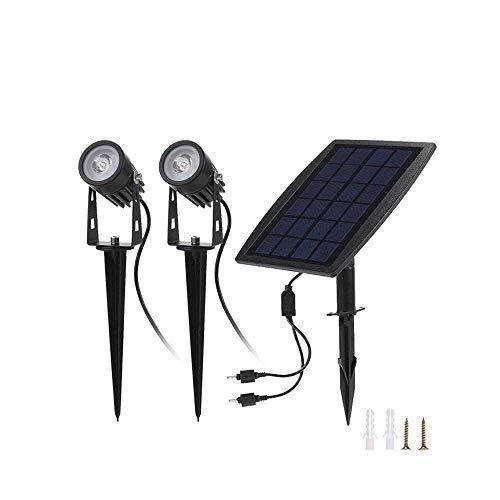 Solarleuchten Garten, Solar LED Strahler Außen, 2 Stücke 6000K Kaltweiß, IP65 Wasserdicht, 3W 250LM für Outdoor Rasen Hof Veranda Terrasse Weg -
