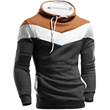 riou Sudadera con Capucha para Hombre Otoño Casual Color Sólido Camiseta de Manga Larga Chaqueta Hoodie