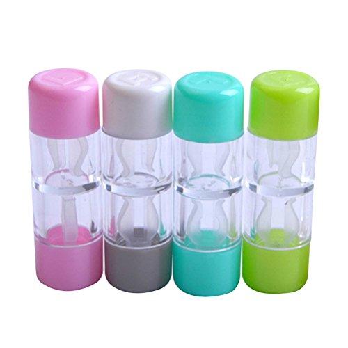 (HEALIFTY 4 STÜCKE Mini Kontaktlinsenbehälter Schutz Box Reise Kosmetische Kontaktlinsenbehälter Halter (Rosa, Weiß, Blau und Grün))