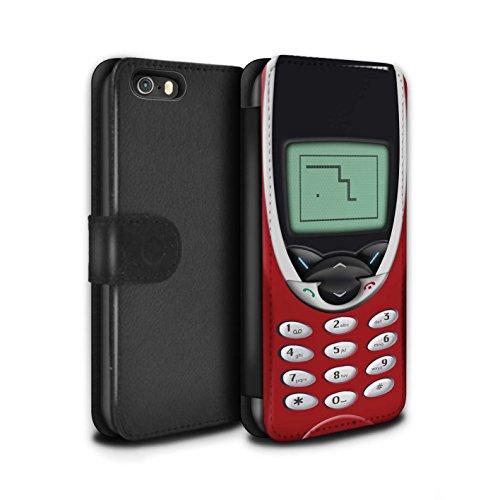 STUFF4 PU-Leder Hülle/Case/Tasche/Cover für Apple iPhone 5/5S / Rotes Nokia 8210 Muster / Vintage Handys Kollektion