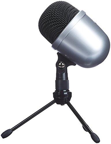 AmazonBasics - Micrófono de condensador, de sobremesa, tamaño mini - Plata