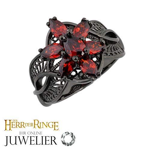 Herr der Ringe/Hobbit Schmuck by Schumann Design Arwens Abendstern Ring Filigran aus 925 black - CZ red 58 (18,4 mm Ø)