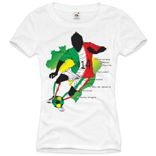 style3 WM Italien Brasilien Fußball T-Shirt für Damen in verschiedenen Farben S-3XL, Farbe:Weiß;Größe:S