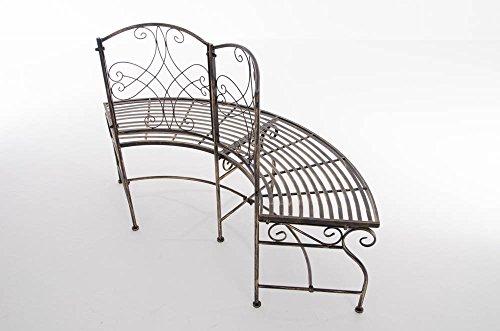 CLP Metall Eckbank / Gartenbank LORENA, Baumbank Design nostalgisch antik, Eisen lackiert, ca. 140 x 60 cm Bronze - 5