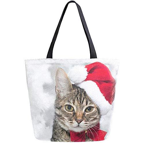 Jennifer Kiot Mode lässig wiederverwendbare einkaufstüten weihnachtskatze rot santa hut männer frauen schulter einkaufstasche leder