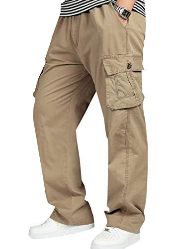 CuteRose Men Plus Size Straight Leg Messenger Rugged Cargo Trousers Yellow 3XL