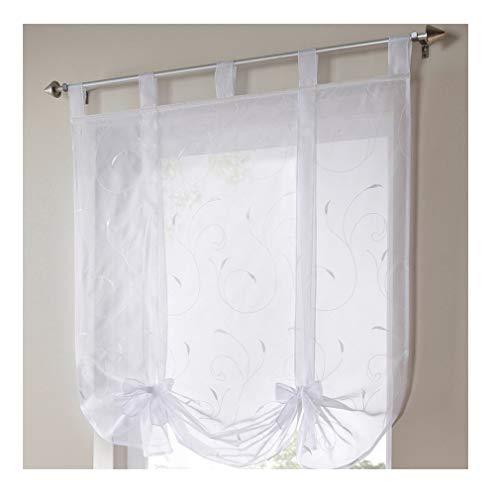 Souarts Weiß Transparent Gardine Vorhang Raffgardinen Raffrollo Schlaufenschal Deko für Wohnzimmer Schlafzimmer Studierzimmer 100x140cm