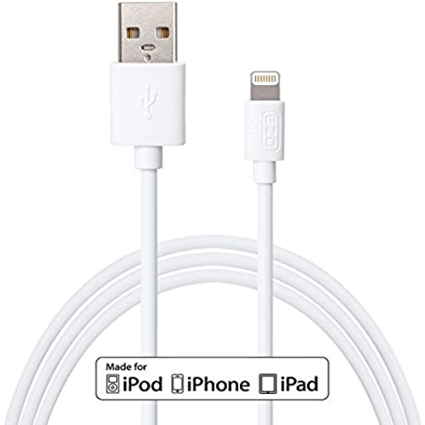 "EZOPower [MFI CERTIFICATO APPLE] 2 metro 8-Pin Lightning USB sincronizzare & di carica dati cavo per pple iPhone iPhone 6s / 6s plus /6 4.7"" / 6 Plus 5 5S 5 C, iPod Touch 5G, iPod Nano 7G, iPad 4 & 5 Air, iPad mini 1 & 2, colore: Bianco"