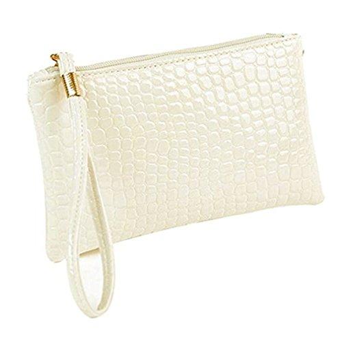 Damen Geldbörse Leder Elegant Portemonnaie,Rosennie Damen Geldbörse Luxus Brieftaschen Für Frauen Groß Kapazität,Portemonnaie mit Reißverschluss,Krokodilleder Clutch Handtasche Tasche (Weiß) -