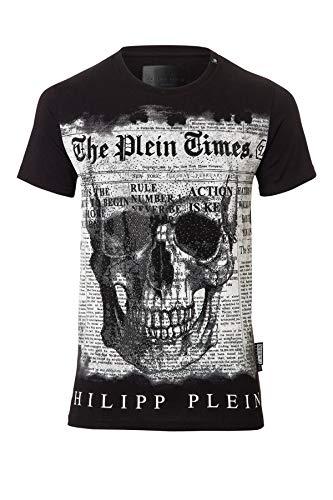 Philipp plein use mtk1444 02 maglietta nero black uomo