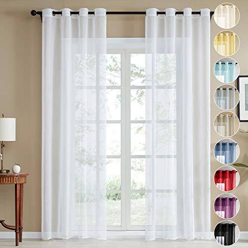 Topfinel trasparenti voile tende lino per la camera da letto della finestra del soggiorno tenda finestra con occhielli,140x245cm,2 pezzi,bianco