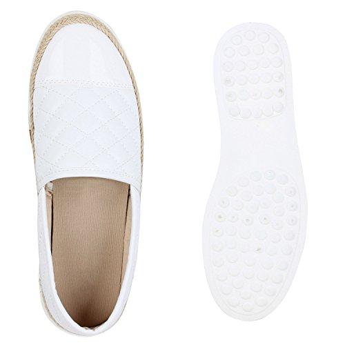 Damen Bast Slip-ons Slipper Sneakers Weiss Bast