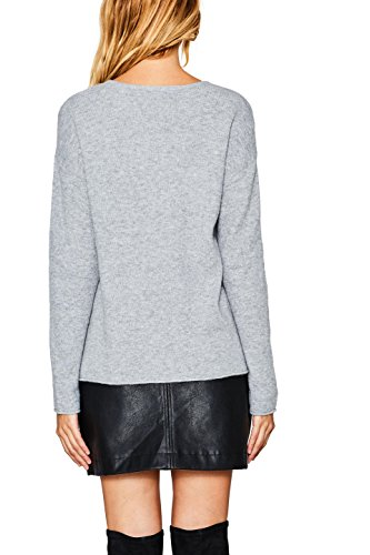 edc by ESPRIT Damen Pullover Grau (Light Grey 040)