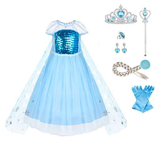 URAQT Disfraz Frozen Niña, Disfraz Elsa Frozen, Disfraz Elsa Frozen Niña, Reina Frozen Disfraz Elsa Vestido Infantil Niñas Costume Azul Cosplay de Disfraz de Halloween, Cumpleaños 150CM