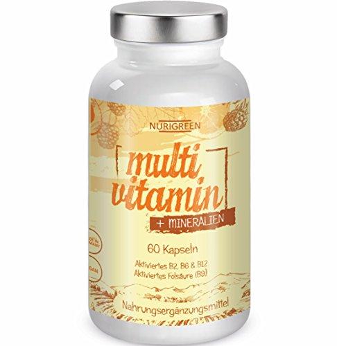 Multivitamin Vegan Tabletten hochdosiert A-Z Komplex Vitamine & Mineralien Multimineral Monatskur - schnell und einfach - Nurigreen