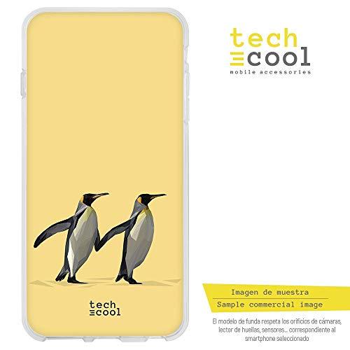 Funnytech® Funda Silicona para Xiaomi Mi 8 [Gel Silicona Flexible, Diseño Exclusivo] Low Poly pingüinos Fondo Amarillo