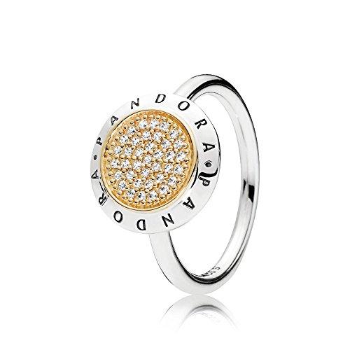 Pandora Damen Ring Logo in silber und gelbgold mit Zirkonia Steinen besetzt