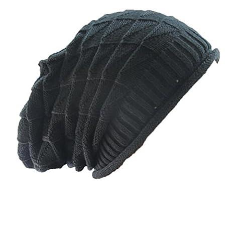 Transer® Ladies Diamond Shaped Baggy Knit Beanie- Women Warm Hats- Girls Ski Hat Caps Skull Hat (Black)