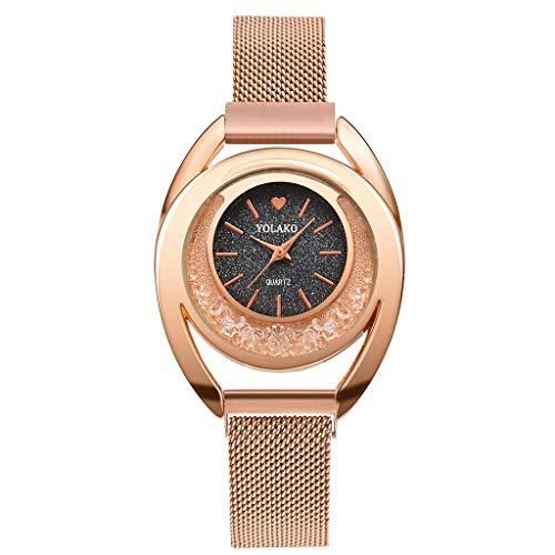 LILIGOD Mode Flow Perlen Mosaik Diamant Uhr Quarz Damenuhr Damenuhr Mesh Gürtel Magnetschnalle Armband Schön Elegant Uhren Lässig Wild Watches (Rhodium-mesh-armband)
