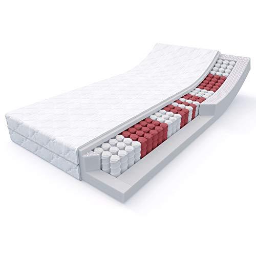 MSS 20 cm hohe 7-Zonen Taschenfederkern-Matratze Medic 90 x 200 cm H4 ab 100 kg = hart inkl. hochwertig versteppter Bezug - weiß