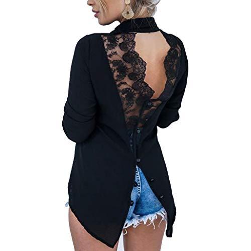 VJGOAL Tops Damen Elegant V-Ausschnitt Bluse Frauen Mode Sexy Wild Lose Öffnen Sie Sich Zurück Spitze Nähen Revers Unregelmäßig Chiffonhemd (Nähen Sie Ein Panda Kostüm)