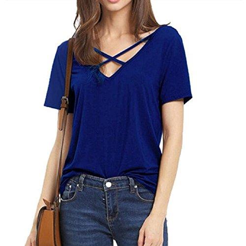 Maglietta Maniche Corte Donna - Landove T Shirt Ampio V-collo Manica Corta Estive Tops Maglietta Spalle Scoperte Blusa Sexy Elegante Casual Blu