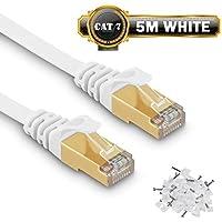 Câble Ethernet 5 M Cat7 Câble réseau Plat Haut Débit Blindé RJ45 10Gbps 750MHz SFTP 8P8C Câbles de Connexion Patch pour Routeur/PC/Consoles de Jeux Vidéo/ADSL - 5 Mètres Blanc - avec des Cordon Clips