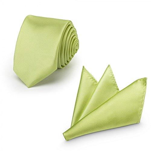 Rusty Bob - Krawatte mit Einstecktuch (in vielen Farben) - für die Verlobung, die Hochzeit - Schlips mit Taschentuch für das Sakko - 2er-Set - Grün-Gelb