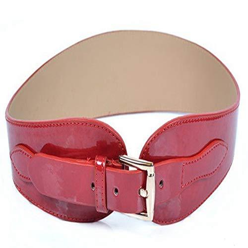 Cintura da donna con fibbia decorativa, cintura a vita selvaggia, garza colorata a vita, rosso