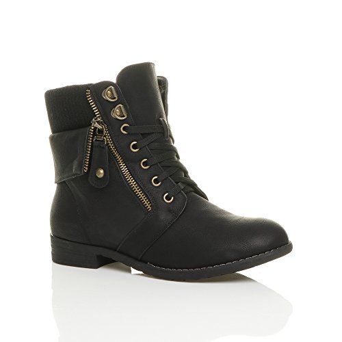 womens-ladies-low-heel-lace-up-knitted-cuff-zip-combat-ankle-boots-size-6-39